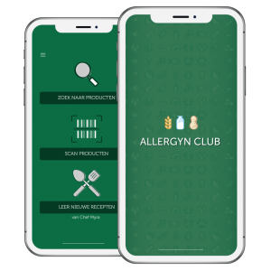 Screenshot van de App interface van AllergynClub