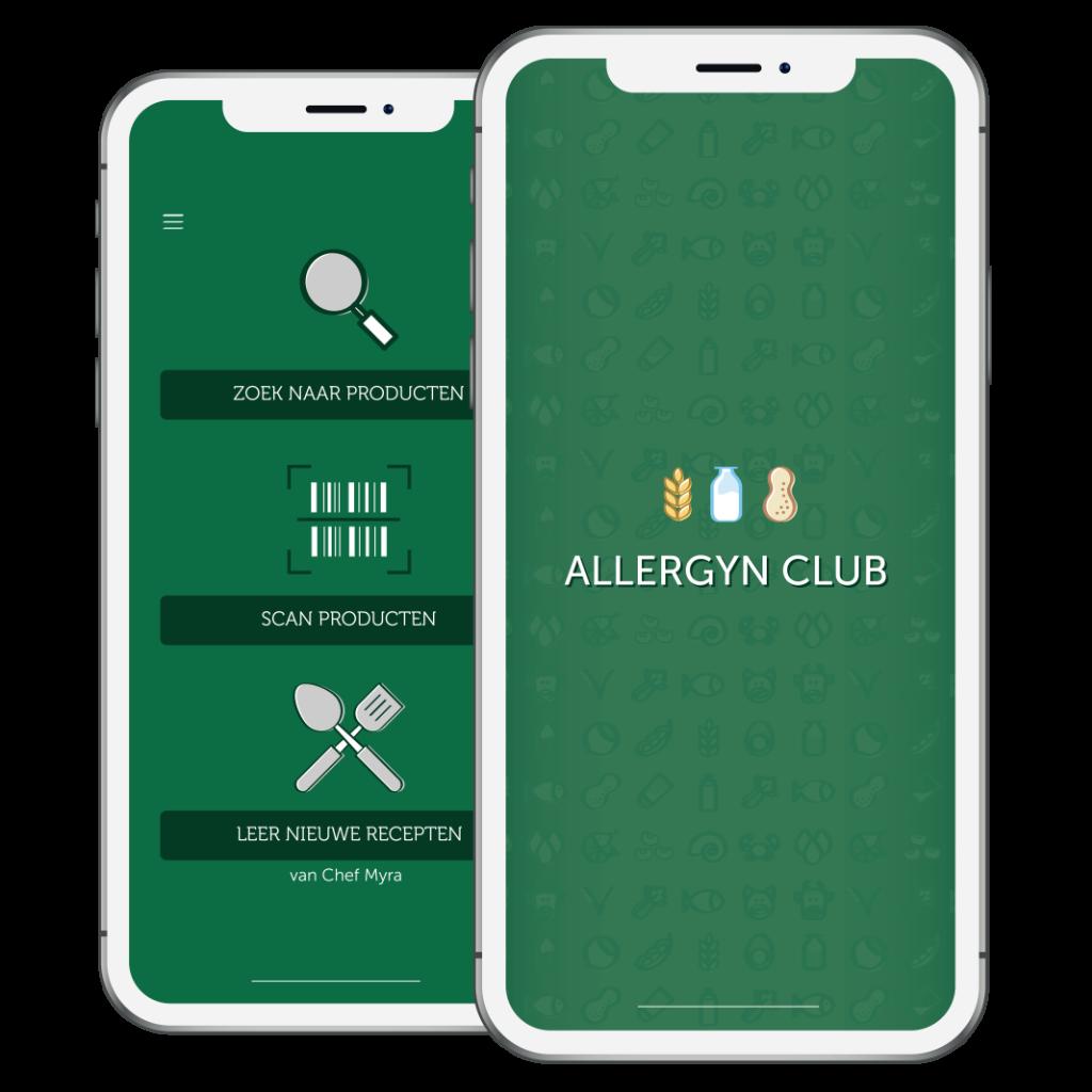 Screenshot van de App interface van AllergynClub